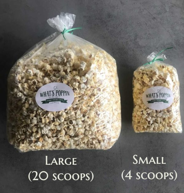 moo-vee popcorn butter flavor in small and large sizes