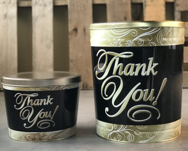 Small and Large Thank You tin side by side
