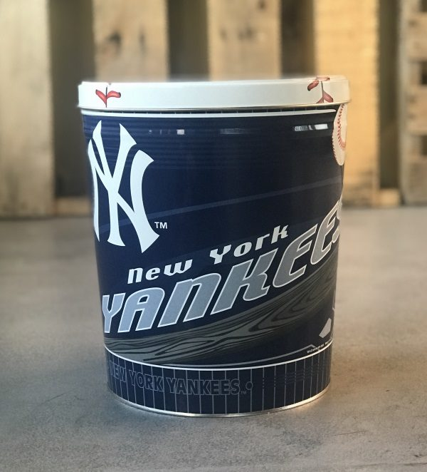 Perfect Gift for Yankees Fan - A NY Yankees Popcorn Tin Choose up to 3 Gourmet Popcorn Varieties to Put in the Keepsake Tin